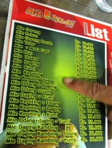 daftar harga menu mie razali